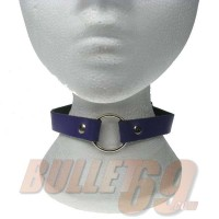 1 row purple neckband with 1 small ring Leather Neckband / Leather Chocker - Purple