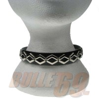 1 Row open hexagon fitting Leather Neckband / Leather Chocker - Black (19)