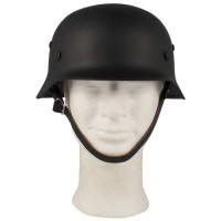 Stalen helm WO II, zwart, met lederen binnenzijde